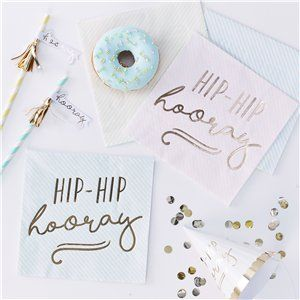 Pick & Mix Pastel 'Hip Hip Hooray' Pastel Paper Napkins - 33cm