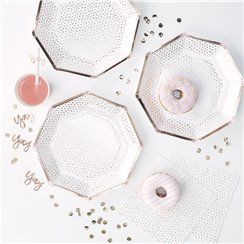 Pick & Mix Rose Gold Spotty Paper Plates - 25cm