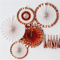 Pick & Mix Rose Gold Fan Decorations - 38cm