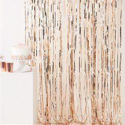 Rose Gold Metallic Fringed Door Curtain - 2.5m