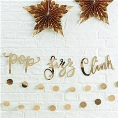 "Gold Metallic Star ""Pop, Fizz, Clink"" Bunting - 1.5m"