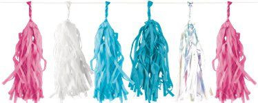 Blue & Pink Mix Tissue Tassel Garland - 3m