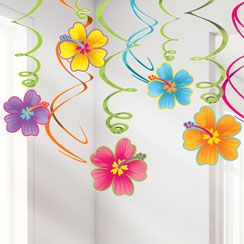 Luau Hanging Swirls - 60cm Hawaiian Decoration
