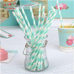 Eternal Rose Turquoise Stripe Paper Straws