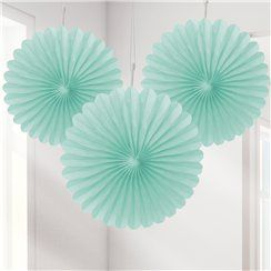 Mint Green Mini Paper Fan Decorations - 15cm
