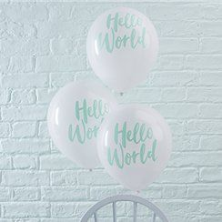 "Hello World Balloons - 12"" Latex"