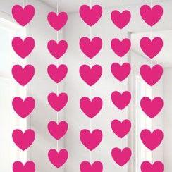 Valentines Pink Heart String Decoration - 2.1m