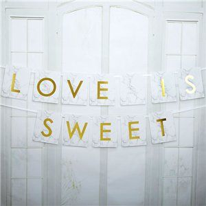 Scripted Marble 'Love is Sweet' Candy Buffet Wedding Bunting - 2m