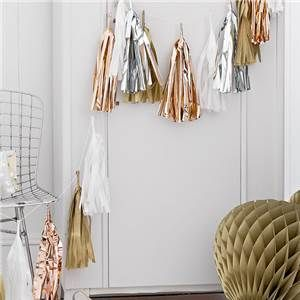 Metallic Gold Mix Tassel Garland Decoration - 3m