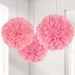 Pink, Turquoise or Lilac Pom Pom Decorations - 40cm