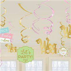 Confetti Fun Birthday Hanging Swirl Decorations - 45cm