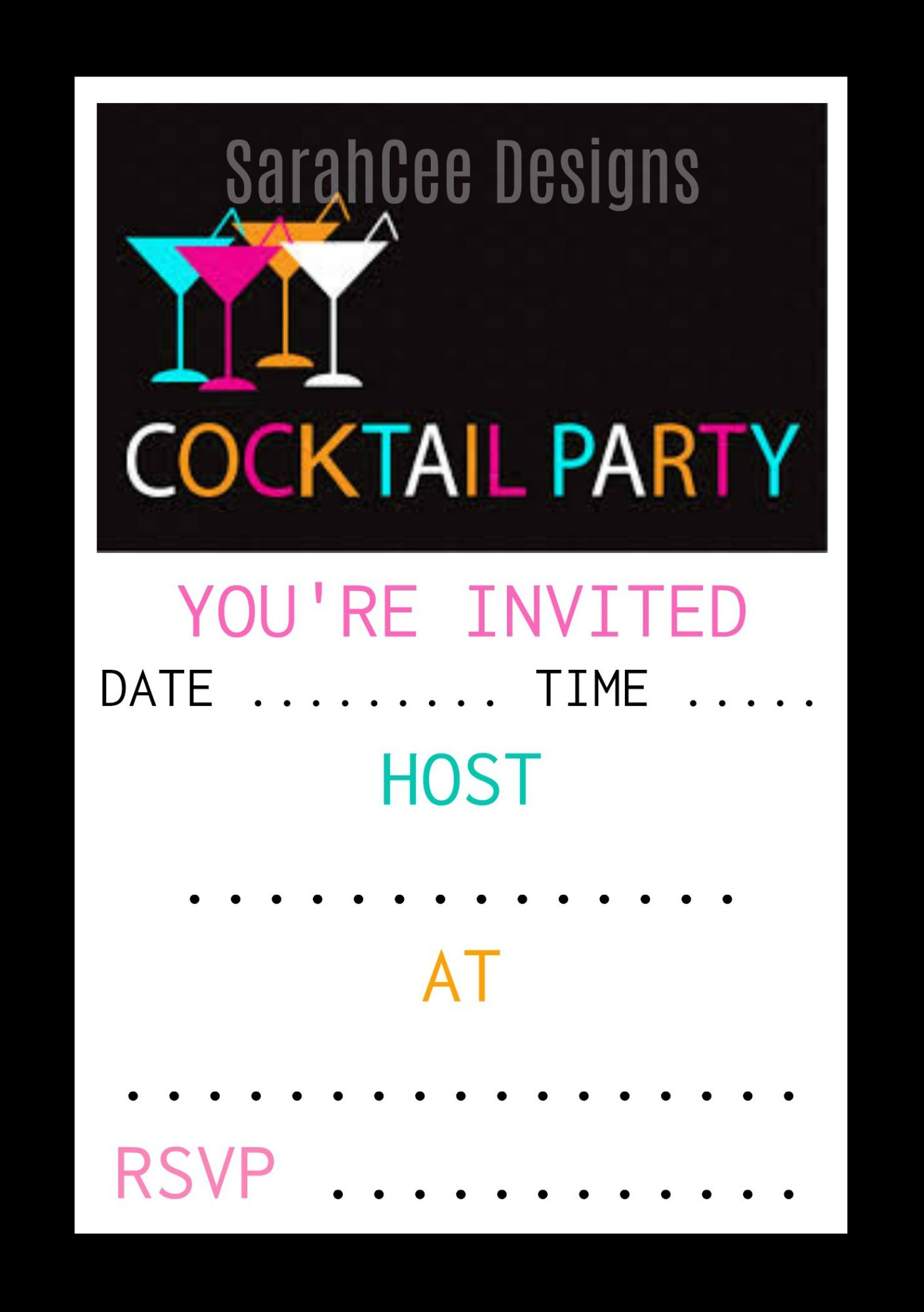 Cocktail & Tropical  Party Invitations