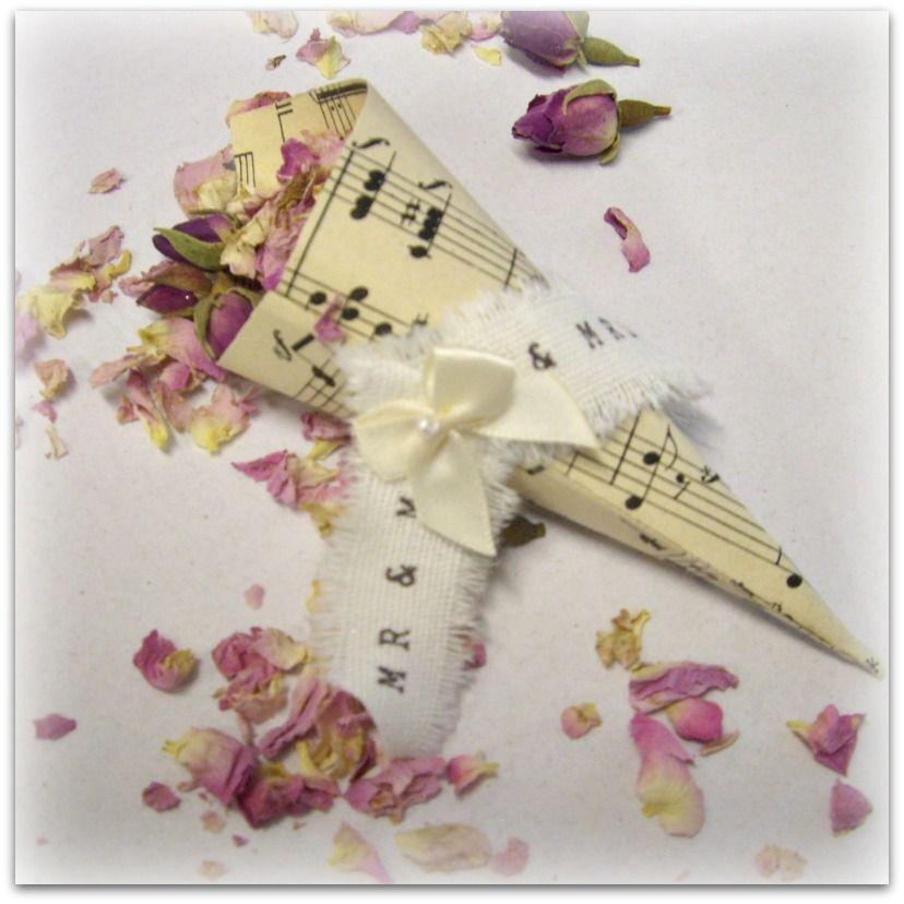Handmade wedding confetti cones