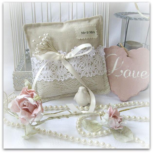 Handmade wedding ring pillow