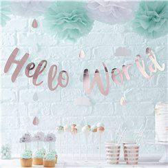 Hello World Baby Shower Decor
