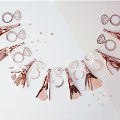 Rose gold ring hen party tassel garland
