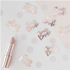 Rose gold hen party table confetti