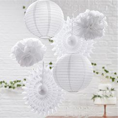 White Hanging Party decorations