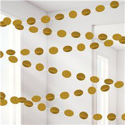 Gold glitter party string garlands