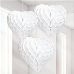 White heart honeycomb party decorations