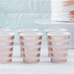 Rose gold foil paper party cups