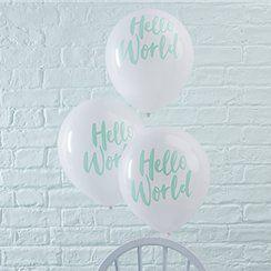 Hello World baby shower balloons