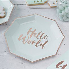 Hello World baby shower party plates