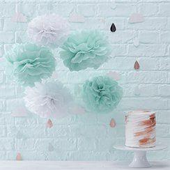 Baby Shower party pom pom paper decorations