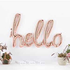 Hello party  rose gold foiled balloon
