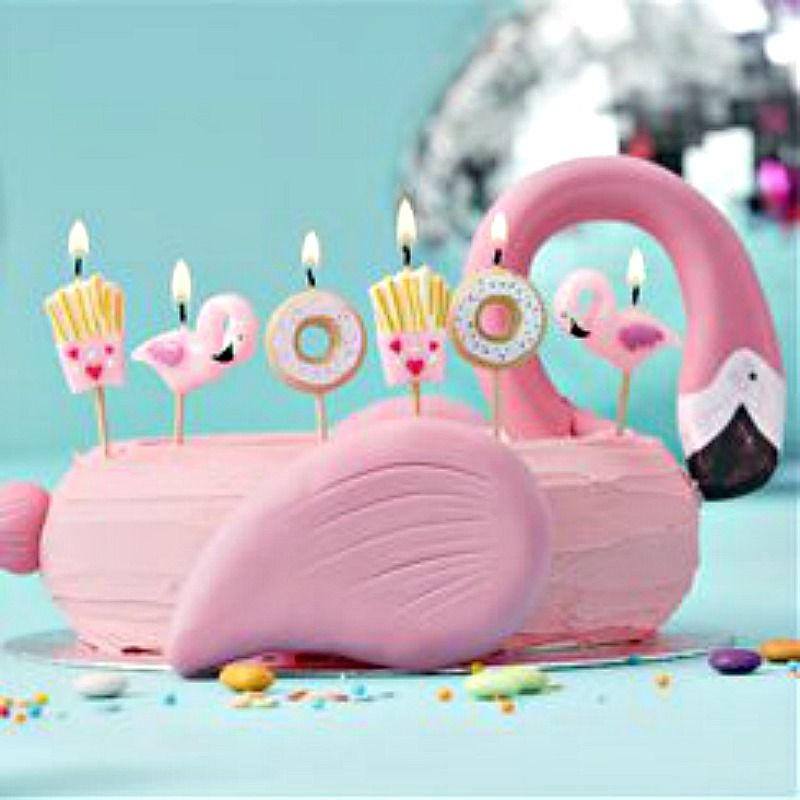 Flamingo birthday candles