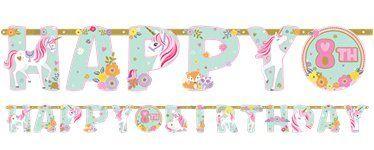 unicorn party birthday banner