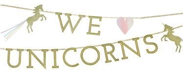 unicorn party glitter banner