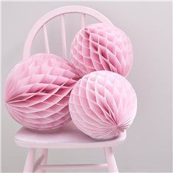 Pink honeycomb party decorations