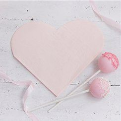 Pink heart paper party napkins