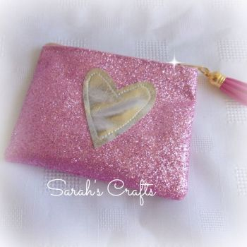 Coin Purse - Candy Pink Glitter with Silver Heart