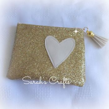 Coin Purse - Gold Glitter  with Cream Heart