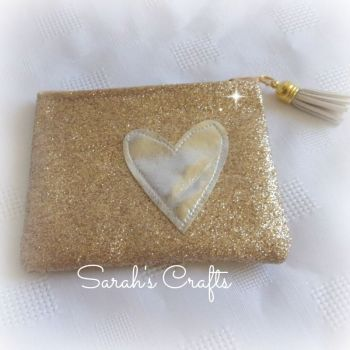 Coin Purse - Gold Glitter  with Silver Heart