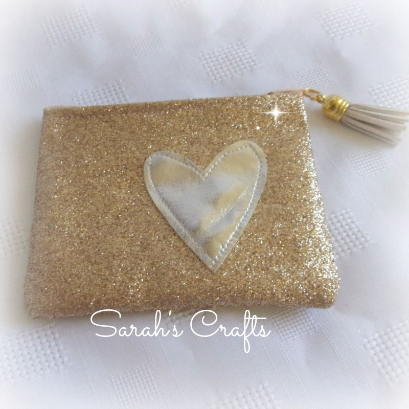 Gold Glitter Coin Purse with Silver Heart
