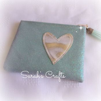 Coin Purse - Ice Blue Glitter with Silver Heart