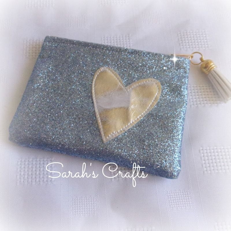 Coin Purse - Ocean Blue Glitter with Silver Heart