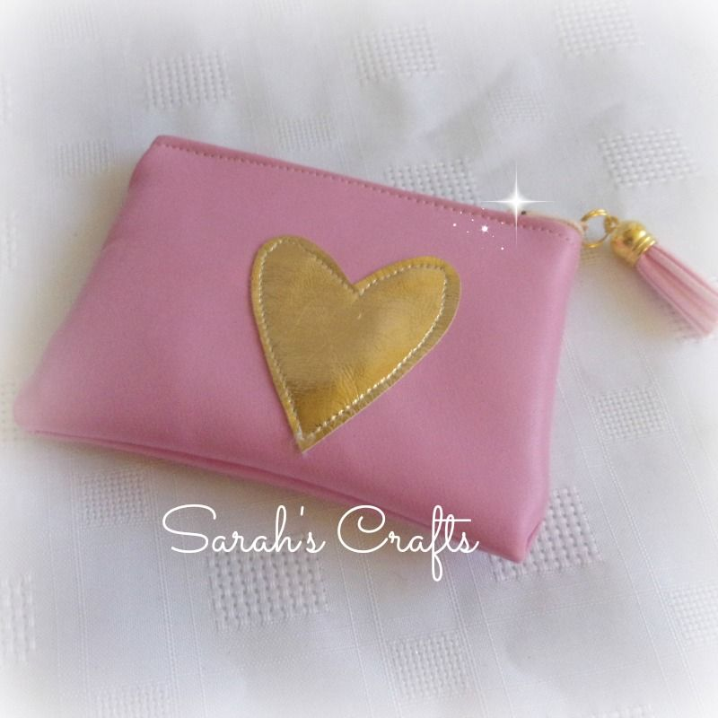 Coin Purse - Pink Faux Leather with Gold Heart