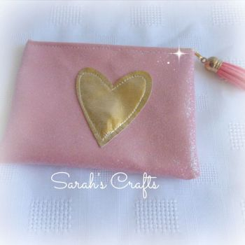 Coin Purse - Pink Glitter with Gold Heart
