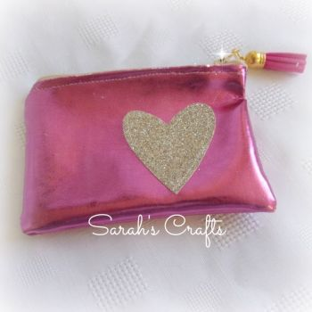 Coin Purse - Rose Pink Faux Leather with Gold Heart