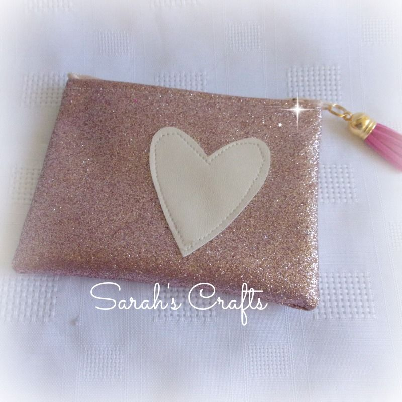Coin Purse - Rose Pink Glitter with Cream Heart