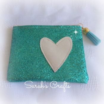 Coin Purse - Turquoise Glitter with Cream Heart