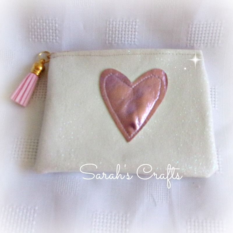 Coin Purse -  White Glitter with Pink Heart