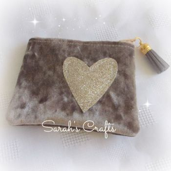 Coin Purse - Mink Velvet with Gold Heart