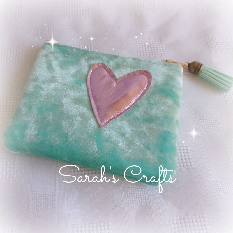 Coin Purse - Turquoise Velvet with Pink Heart