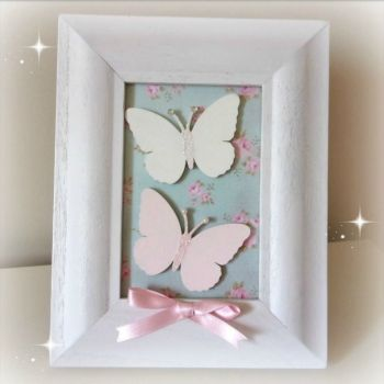 Handmade Butterfly Picture - Blue Floral Background