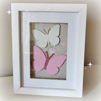 Handmade Butterfly Picture - Green Floral Background